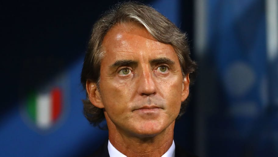 BOLOGNA, ITALY - SEPTEMBER 07:  Head coach of Italy Roberto Mancini looks on before the UEFA Nations League A group three match between Italy and Poland at Stadio Renato Dall'Ara on September 7, 2018 in Bologna, Italy.  (Photo by Marco Luzzani/Getty Images)