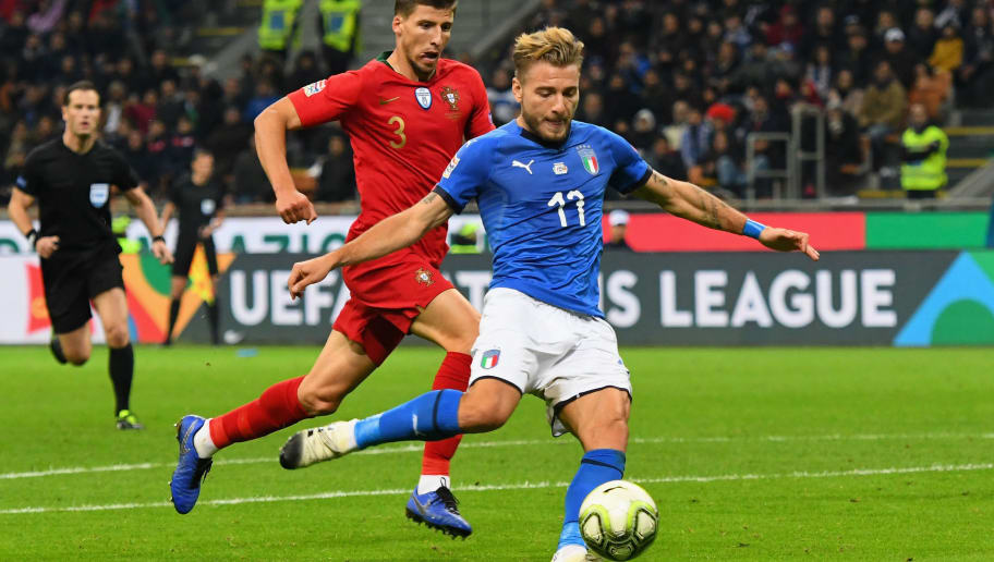 MILAN, ITALY - NOVEMBER 17:  Ciro Immobile of Italy  in action during the UEFA Nations League A group three match between Italy and Portugal at Stadio Giuseppe Meazza on November 17, 2018 in Milan, Italy.  (Photo by Alessandro Sabattini/Getty Images)