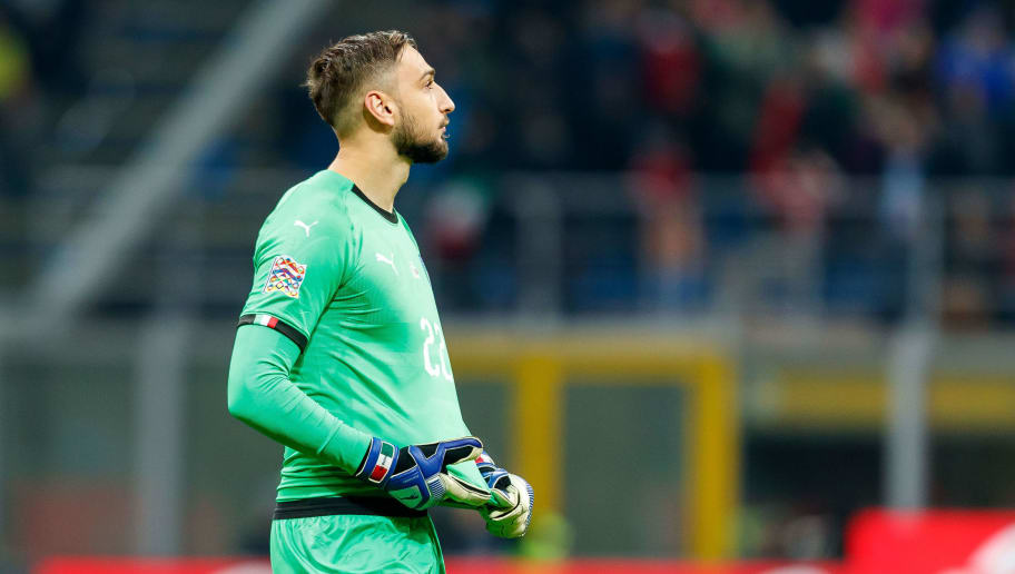 MILAN, ITALY - NOVEMBER 17: Goalkeeper Gianluigi Donnarumma of Italy looks on during the UEFA Nations League A group three match between Italy and Portugal at Stadio Giuseppe Meazza on November 17, 2018 in Milan, Italy. (Photo by TF-Images/Getty Images)