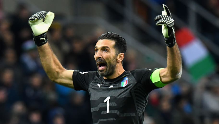 MILAN, ITALY - NOVEMBER 13:  Gianluigi Buffon of Italy  reacts during the FIFA 2018 World Cup Qualifier Play-Off: Second Leg between Italy and Sweden at San Siro Stadium on November 13, 2017 in Milan, .  (Photo by Alessandro Sabattini/Getty Images)
