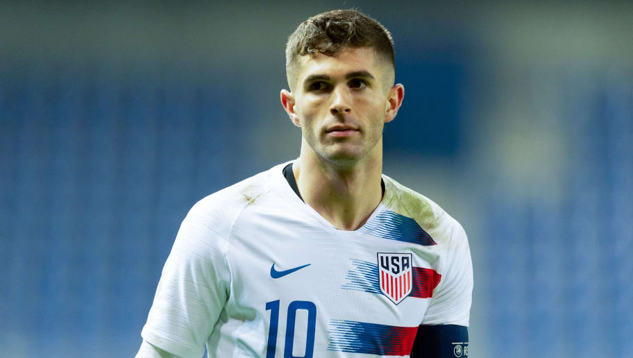 GENK, BELGIUM - NOVEMBER 20: Christian Pulisic of the United States of America looks on during Italy v USA International Friendly at Luminus Arena in Genk on November 20, 2018 in Genk, Belgium. (Photo by TF-Images/Getty Images)