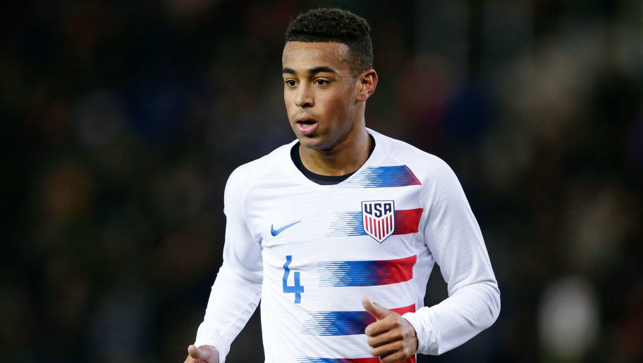 GENK, BELGIUM - NOVEMBER 20: Tyler Adams of USA  during the  International Friendly match between Italy  v USA  at the KRC Genk Arena on November 20, 2018 in Genk Belgium (Photo by Eric Verhoeven/Soccrates/Getty Images)