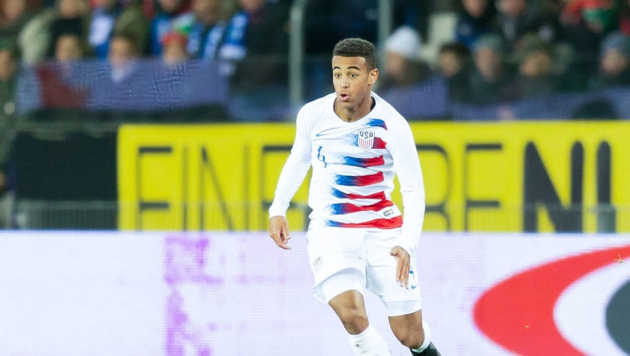 GENK, BELGIUM - NOVEMBER 20: Tyler Adams of the United States of America controls the ball during Italy v USA International Friendly at Luminus Arena in Genk on November 20, 2018 in Genk, Belgium. (Photo by TF-Images/Getty Images)