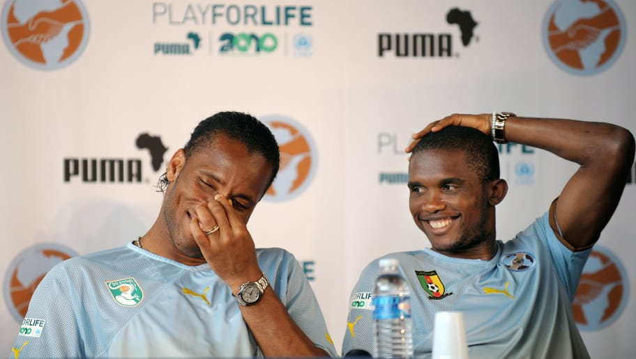 Ivorian football player Didier Drogba (L) and Cameroonian Samuel Eto'o take part in a press conference during the Africa Unity Experience at Michel Hidalgo stadium in Saint-Gratien, near Paris on May 28, 2010. AFP PHOTO BERTRAND LANGLOIS (Photo credit should read BERTRAND LANGLOIS/AFP/Getty Images)