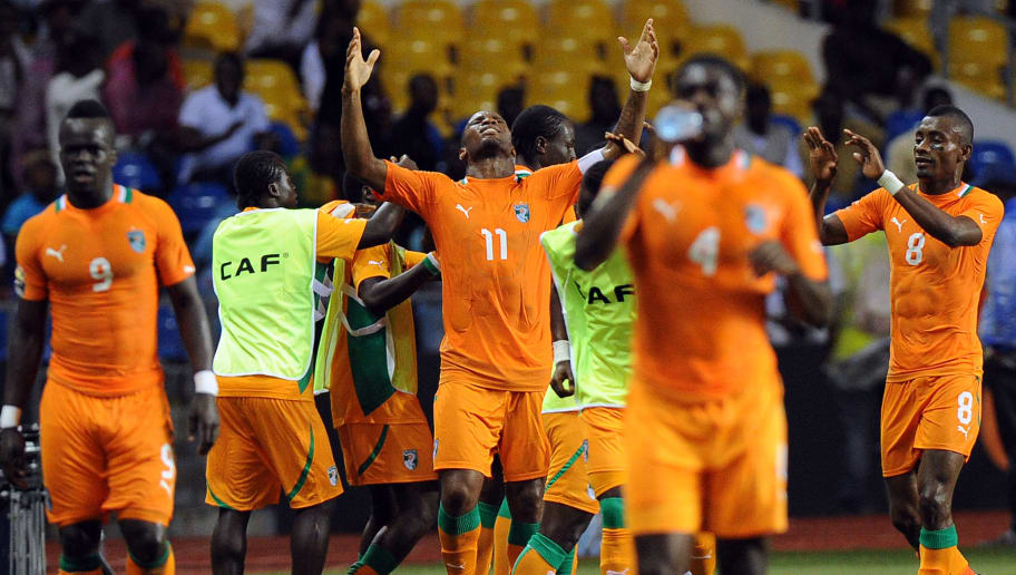 Ivory Coast captain Didier Drogba reacts