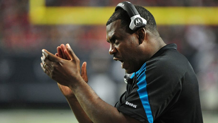 ATLANTA, GA - DECEMBER 15: Interim Head Coach Mel Tucker of the Jacksonville Jaguars cheers after a play against the Atlanta Falcons at the Georgia Dome on December 15, 2011 in Atlanta, Georgia. (Photo by Scott Cunningham/Getty Images)