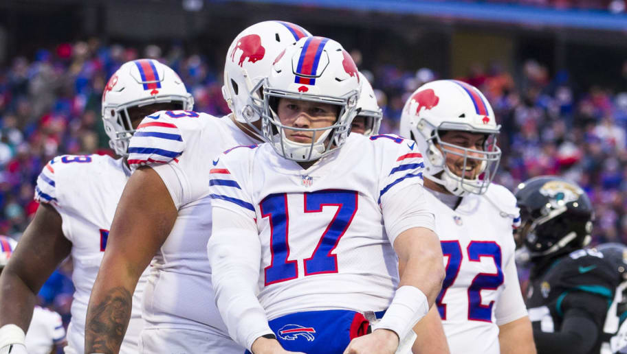 ORCHARD PARK, NY - NOVEMBER 25:  Josh Allen #17 of the Buffalo Bills celebrates a touchdown run during the fourth quarter against the Jacksonville Jaguars at New Era Field on November 25, 2018 in Orchard Park, New York. Buffalo defeats Jacksonville 24-21.  (Photo by Brett Carlsen/Getty Images)