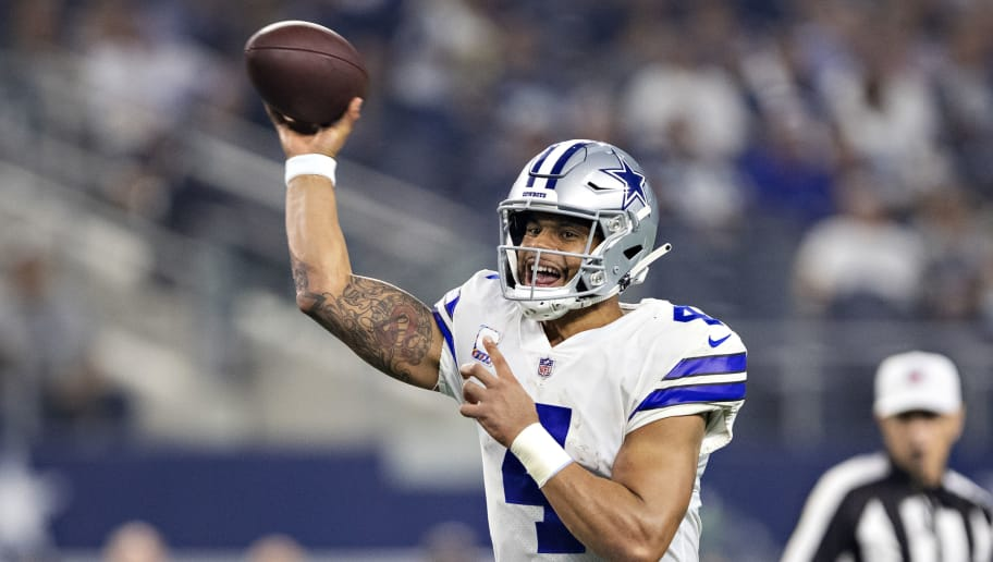 ARLINGTON, TX - OCTOBER 14:  Dak Prescott #4 of the Dallas Cowboys throws a pass during a game against the Jacksonville Jaguars at AT&T Stadium on October 14, 2018 in Arlington, Texas.  The Cowboys defeated the Jaguars 40-7.  (Photo by Wesley Hitt/Getty Images)