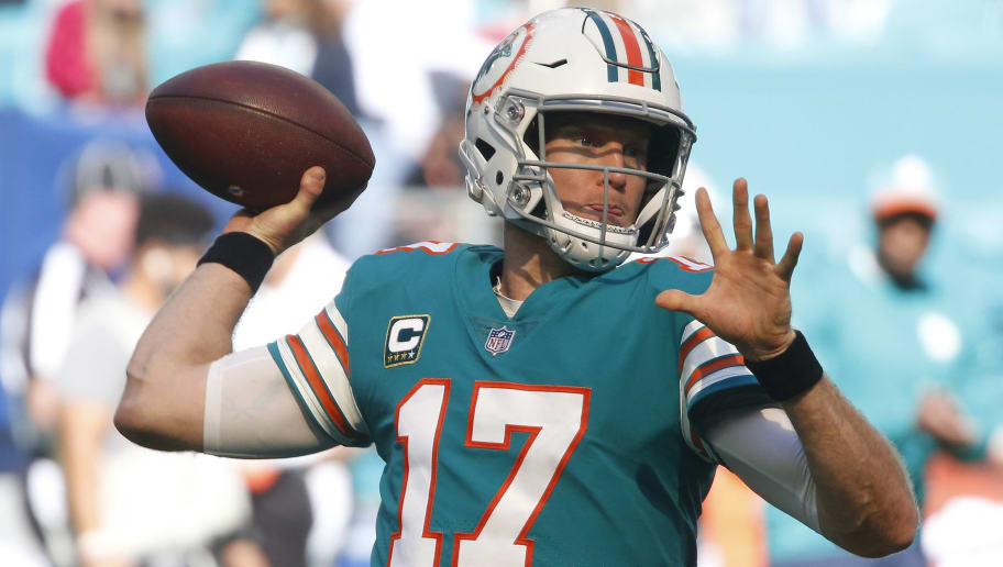 MIAMI GARDENS, FL - DECEMBER 23: Ryan Tannehill #17 of the Miami Dolphins throws the ball prior to the NFL game against the Jacksonville Jaguars on December 23, 2018 at Hard Rock Stadium in Miami Gardens, Florida. Jacksonville defeated Miami 17-7. (Photo by Joel Auerbach/Getty Images)