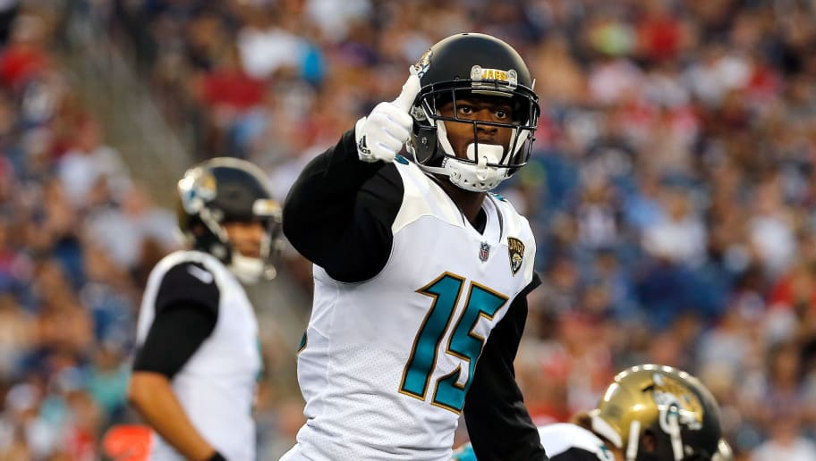 FOXBORO, MA - AUGUST 10: Allen Robinson #15 of the Jacksonville Jaguars gestures in the first half during a preseason game with New England Patriots at Gillette Stadium on August 10, 2017 in Foxboro, Massachusetts. (Photo by Jim Rogash/Getty Images)