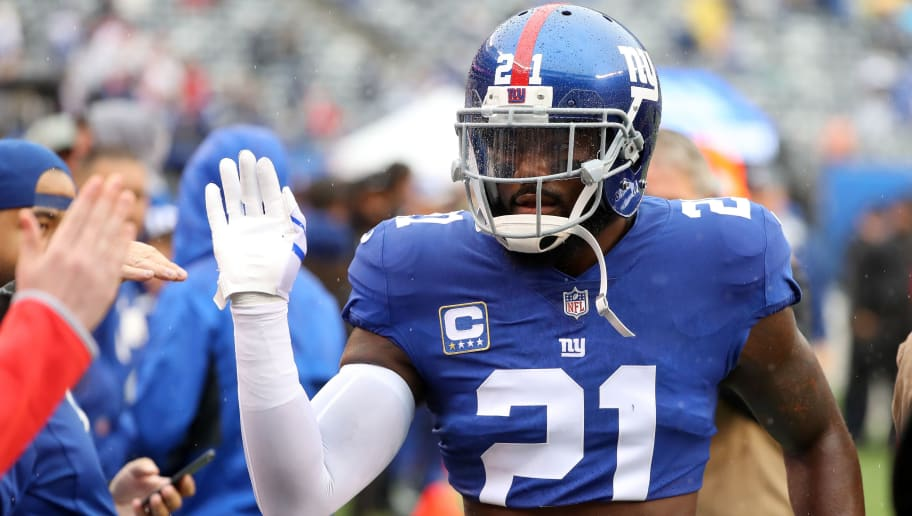EAST RUTHERFORD, NJ - SEPTEMBER 09: Landon Collins #21 of the New York Giants runs off the field after warm ups before the game against the Jacksonville Jaguars at MetLife Stadium on September 9, 2018 in East Rutherford, New Jersey.  (Photo by Mike Lawrie/Getty Images)