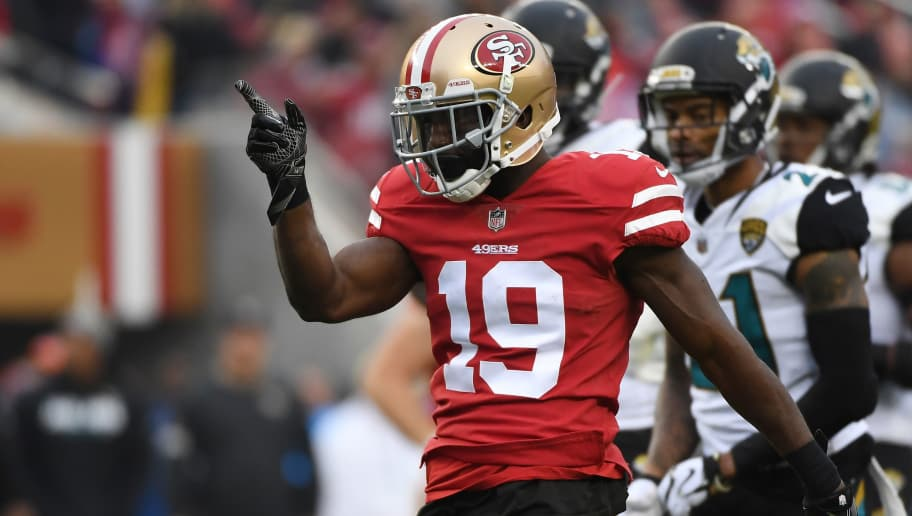 SANTA CLARA, CA - DECEMBER 24:  Aldrick Robinson #19 of the San Francisco 49ers reacts after a catch against the Jacksonville Jaguars during their NFL game at Levi's Stadium on December 24, 2017 in Santa Clara, California.  (Photo by Robert Reiners/Getty Images)