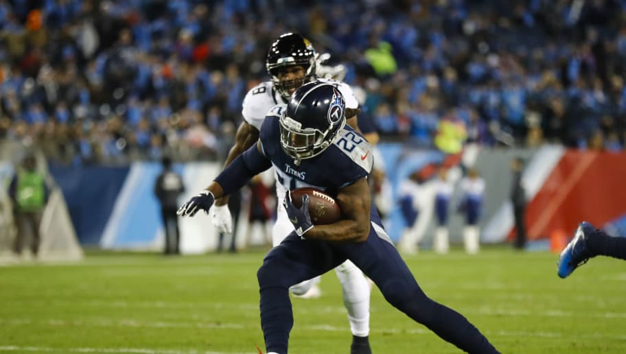 NASHVILLE, TN - DECEMBER 6: Derrick Henry #22 of the Tennessee Titans runs with the ball against the Jacksonville Jaguars during the first quarter at Nissan Stadium on December 6, 2018 in Nashville, Tennessee. (Photo by Wesley Hitt/Getty Images)