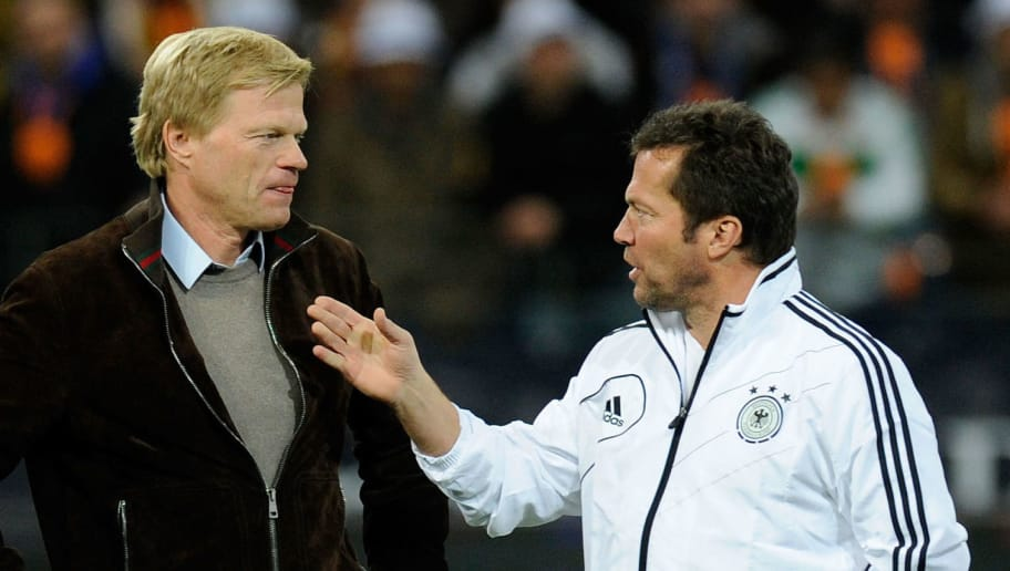 FRANKFURT AM MAIN, GERMANY - OCTOBER 14: Lothar Matthaeus (R) of Germany talks to coach Oliver Kahn and Rudi Voeller prior toR the century match between Germany and Italy at Commerzbank Arena on October 14, 2012 in Frankfurt am Main, Germany.  (Photo by Thorsten Wagner/Bongarts/Getty Images)