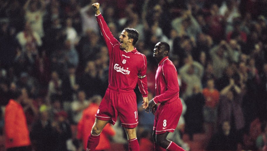 21 Aug 2001:  Jamie Redknapp of Liverpool celebrates as he scores a goal on his comeback from injury during the UEFA Champions League qualifying round second leg match against FC Haka played at Anfield, in Liverpool, England. Liverpool won the match 4-1,and won the tie 9-1 on aggregate. \ Mandatory Credit: Alex Livesey /Allsport