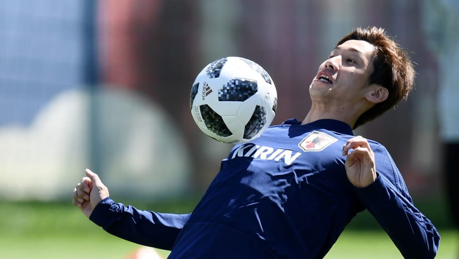 KAZAN, RUSSIA - JUNE 21:  Genki Haraguchi of Japan controls the ball during the Japan Training Session on June 21, 2018 in Kazan, Russia.  (Photo by Carl Court/Getty Images)