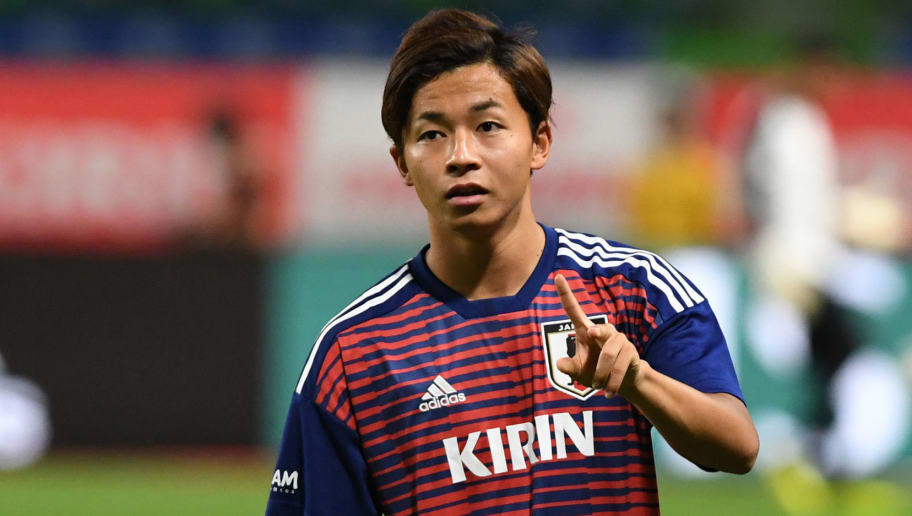 SUITA, JAPAN - SEPTEMBER 11:  Tatsuya Ito of Japan gestures prior to the international friendly match between Japan and Costa Rica at Suita City Football Stadium on September 11, 2018 in Suita, Osaka, Japan.  (Photo by Masashi Hara/Getty Images)