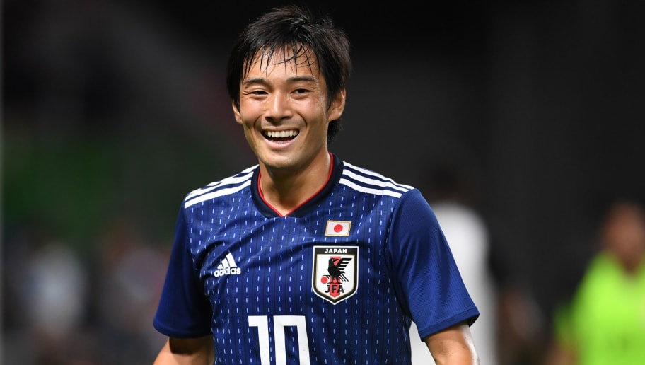 SUITA, JAPAN - SEPTEMBER 11:  Shoya Nakajima of Japan smiles during the international friendly match between Japan and Costa Rica at Suita City Football Stadium on September 11, 2018 in Suita, Osaka, Japan.  (Photo by Etsuo Hara/Getty Images)