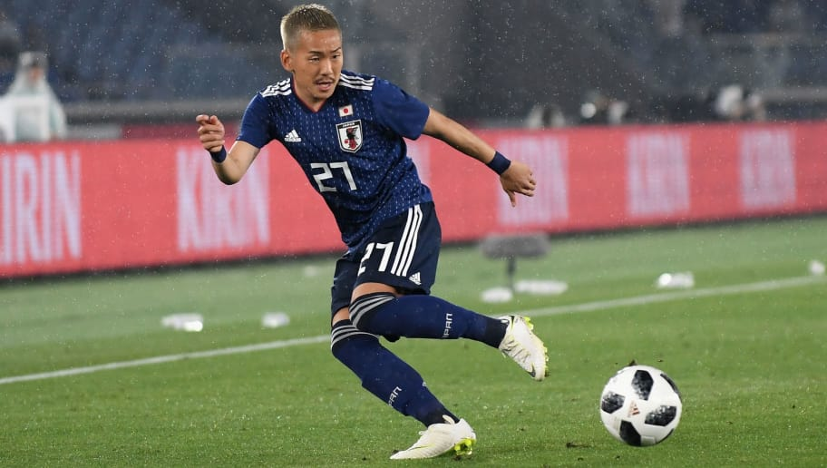 YOKOHAMA, JAPAN - MAY 30:  Yosuke Ideguchi of Japan in action during the international friendly match between Japan and Ghana at Nissan Stadium on May 30, 2018 in Yokohama, Kanagawa, Japan.  (Photo by Atsushi Tomura/Getty Images)