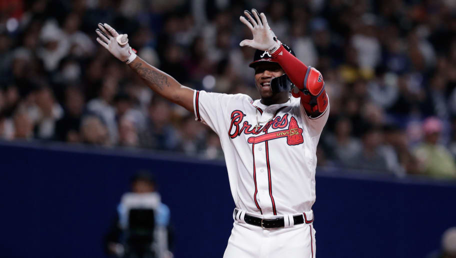 NAGOYA, JAPAN - NOVEMBER 15:  Outfielder Ronald Acuna Jr. #13 of the Atlanta Braves celebrates after hitting a solo home run in the bottom of 8th inning during the game six between Japan and MLB All Stars at Nagoya Dome on November 15, 2018 in Nagoya, Aichi, Japan.  (Photo by Kiyoshi Ota/Getty Images)