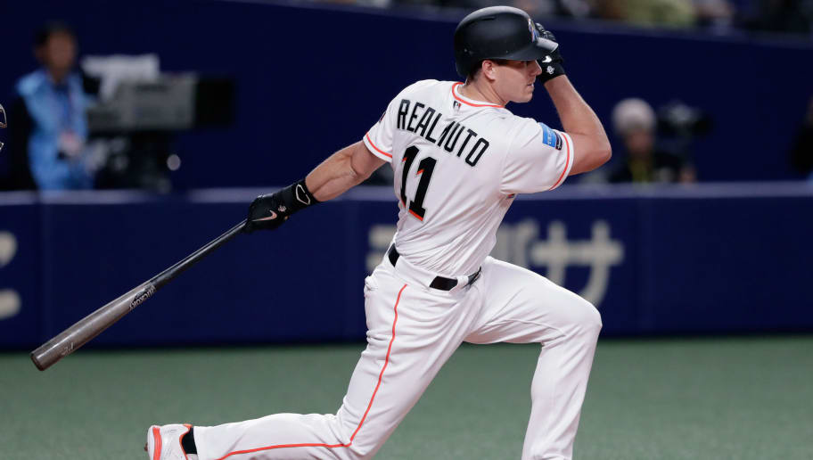 NAGOYA, JAPAN - NOVEMBER 15: Deesignated hitter J.T. Realmuto #11 of the Miami Marlins strikes out in the bottom of 7th inning during the game six between Japan and MLB All Stars at Nagoya Dome on November 15, 2018 in Nagoya, Aichi, Japan.  (Photo by Kiyoshi Ota/Getty Images)
