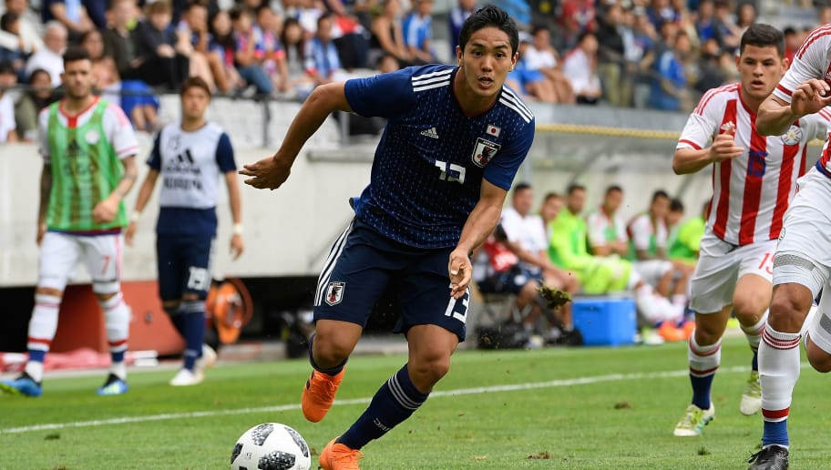 INNSBRUCK, AUSTRIA - JUNE 12:  Yoshinori Muto of Japan in action during the international friendly match between Japan and Paraguay at Tivoli Stadion on June 12, 2018 in Innsbruck, Austria.  (Photo by Masahiro Ura/Getty Images)