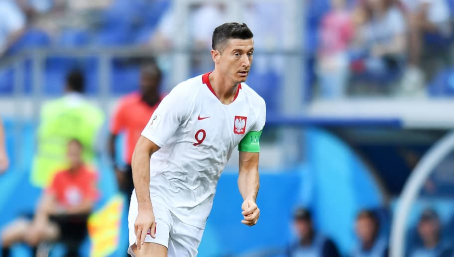 VOLGOGRAD, RUSSIA - JUNE 28: Robert Lewandowski of Poland in action during the 2018 FIFA World Cup Russia group H match between Japan and Poland at Volgograd Arena on June 28, 2018 in Volgograd, Russia. (Photo by Lukasz Laskowski/PressFocus/MB Media/Getty Images)