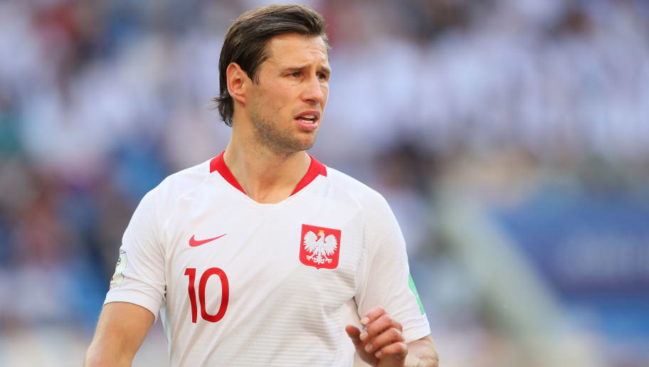 VOLGOGRAD, RUSSIA - JUNE 28:  Grzegorz Krychowiak of Poland looks on during the 2018 FIFA World Cup Russia group H match between Japan and Poland at Volgograd Arena on June 28, 2018 in Volgograd, Russia. (Photo by Matthew Ashton - AMA/Getty Images)