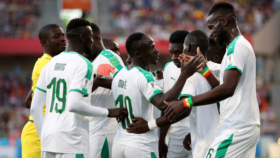 YEKATERINBURG, RUSSIA - JUNE 24:  Sadio Mane of Senegal celebrates with teammates after scoring his team's first goal during the 2018 FIFA World Cup Russia group H match between Japan and Senegal at Ekaterinburg Arena on June 24, 2018 in Yekaterinburg, Russia.  (Photo by Ryan Pierse/Getty Images )