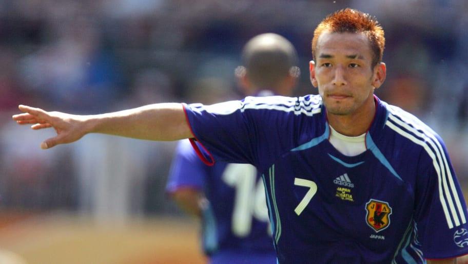 Japanese defender Koji Nakata gestures d