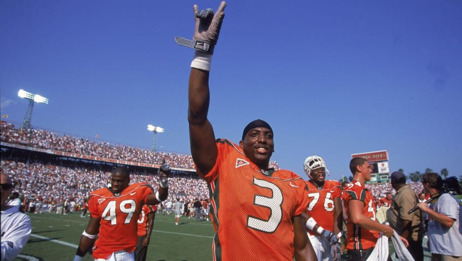 7 Oct 2000:  Jason Geathers #3 of the Miami Hurricanes celebrates after the game against the Florida State Seminoles at the Orange Bowl in Miami, Florida.  The Hurricanes defeated the Seminoles 27-24.Mandatory Credit: Andy Lyons  /Allsport