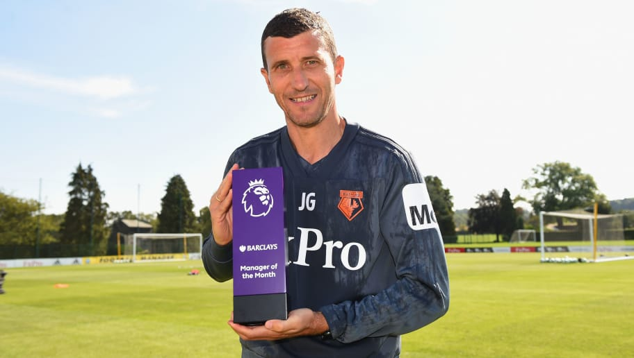 ST ALBANS, ENGLAND - SEPTEMBER 06:  Javi Gracia, Manager of Watford FC poses with the Barclays Manager of the Month Award for August 2018 on September 6, 2018 in St Albans, England.  (Photo by Tony Marshall/Getty Images for Premier League)