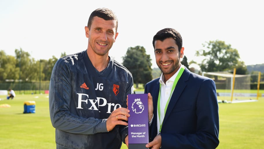 ST ALBANS, ENGLAND - SEPTEMBER 06:  Javi Gracia, Manager of Watford FC is presented with the Barclays Manager of the Month Award for August 2018 by Ayush Oza of Barclays on September 6, 2018 in St Albans, England.  (Photo by Tony Marshall/Getty Images for Premier League)