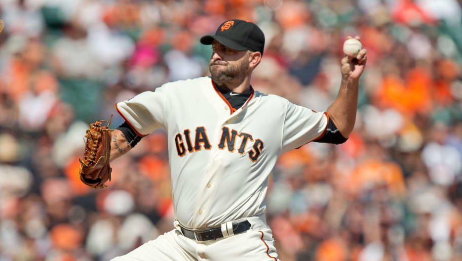 SAN FRANCISCO, CA - OCTOBER 4:  Pitcher Jeremy Affeldt #41 of the San Francisco Giants hurls the final inning of his career in the sixth inning against the Colorado Rockies at AT&T Park on October 4, 2015 in San Francisco, California, during the final day of the regular season.  The Rockies won 7-3.  (Photo by Brian Bahr/Getty Images)