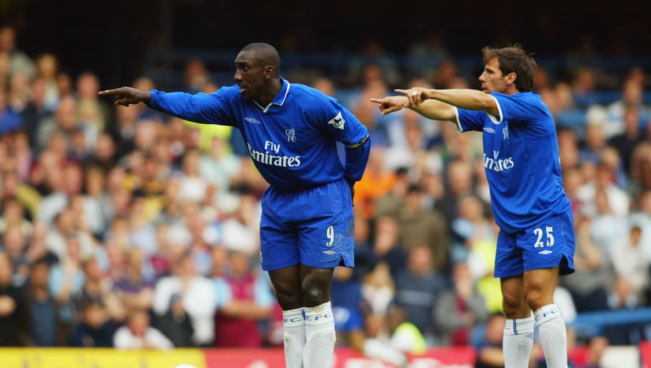 Jimmy Floyd Hasselbaink and Gianfranco Zola of Chelsea