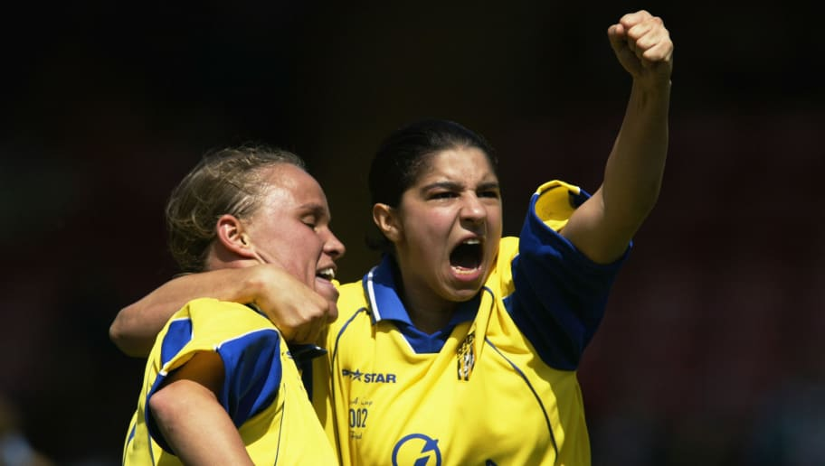Jodie Handley and Carly Hunt of Doncaster Belles celebrate