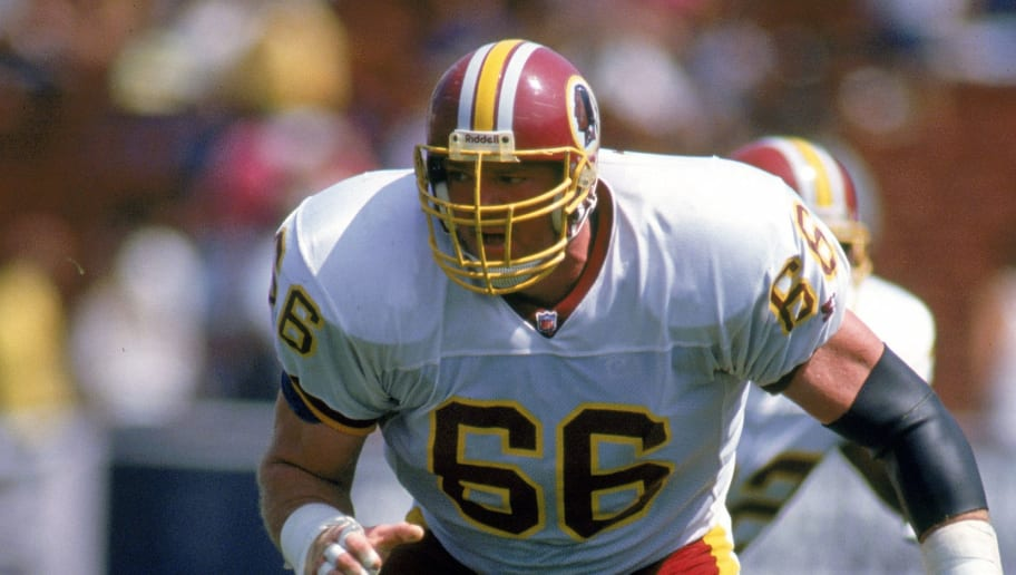 LOS ANGELES - AUGUST 22:  Joe Jacoby #66 of the Washington Redskins gets ready on the line during a game against the Los Angeles Raider on August 22, 1992 in Los Angeles, California.  (Photo by: Bernstein Associates/Getty Images)