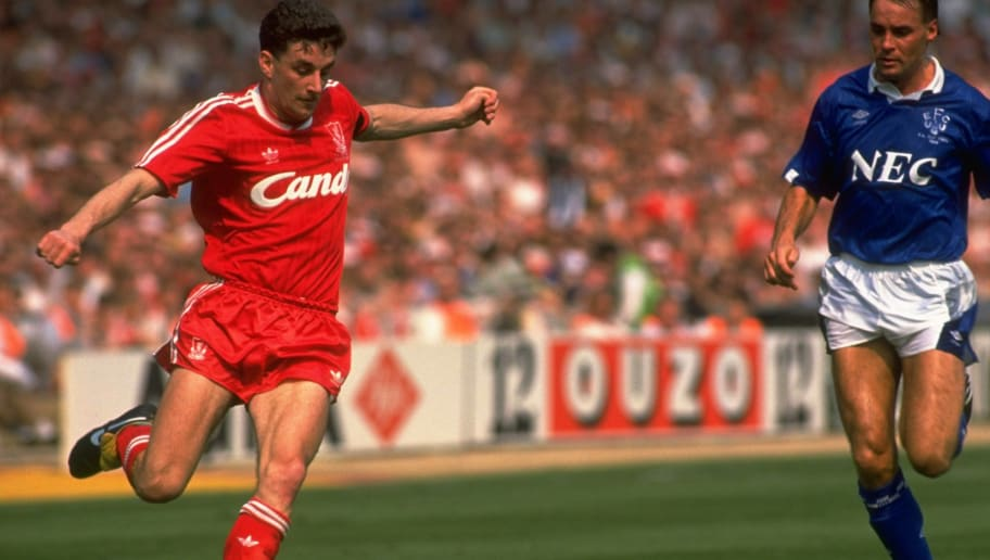 1989:  John Aldridge of Liverpool crosses the ball during the FA Cup final against Everton at Wembley Stadium in London. Liverpool won the match 3-2. \ Mandatory Credit: Simon  Bruty/Allsport