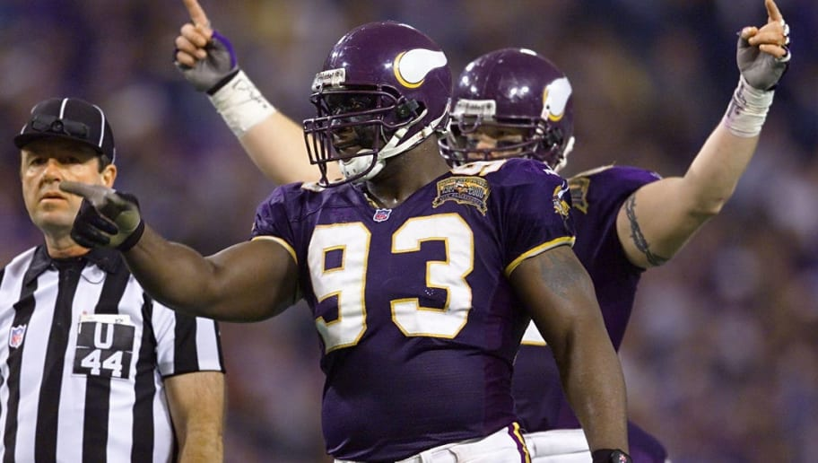 06 Jan 2001:  Defensive tackle John Randle #93 of the Minnesota Vikings riles up the crowd against the New Orleans Saints at the Metrodome in Minneapolis, Minnesota.   The Vikings won 34-16 to advance to the NFC Championship.  < DIGITAL IMAGE> Mandatory Credit: Brian Bahr/ALLSPORT