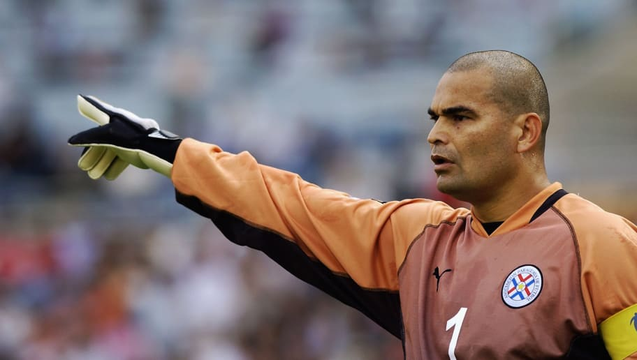 SEOGWIPO - JUNE 15:  Jose Luis Chilavert of Paraguay during the Germany v Paraguay, World Cup Second Round match played at the Seogwipo-Jeju World Cup Stadium in Seogwipo, South Korea on June 15, 2002. (Photo by Shaun Botterill/Getty Images)