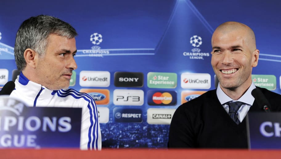 (FILES) This file picture dated February 21, 2011  shows former French football player Zinedine Zidane smiling next to Real Madrid's Portuguese coach Jose Mourinho (L) during a press conference on the eve of UEFA Champions league football match Lyon versus Real Madrid on at the Gerland stadium in Lyon.  Zidane annnced on July 7, 2011 that he has been named as Real Madrid's new sporting director for next season.  AFP PHOTO/PHILIPPE DESMAZES (Photo credit should read PHILIPPE DESMAZES/AFP/Getty Images)