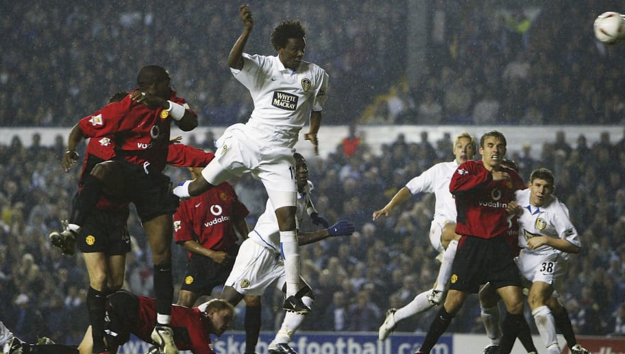 LEEDS, ENGLAND - OCTOBER 28:  Jose Roque Junior of Leeds scores the first goal during the Carling Cup, third round match between Leeds United and Manchester United at Elland Road on October 28, 2003 in Leeds, England. (Photo by Laurence Griffiths/Getty Images)
