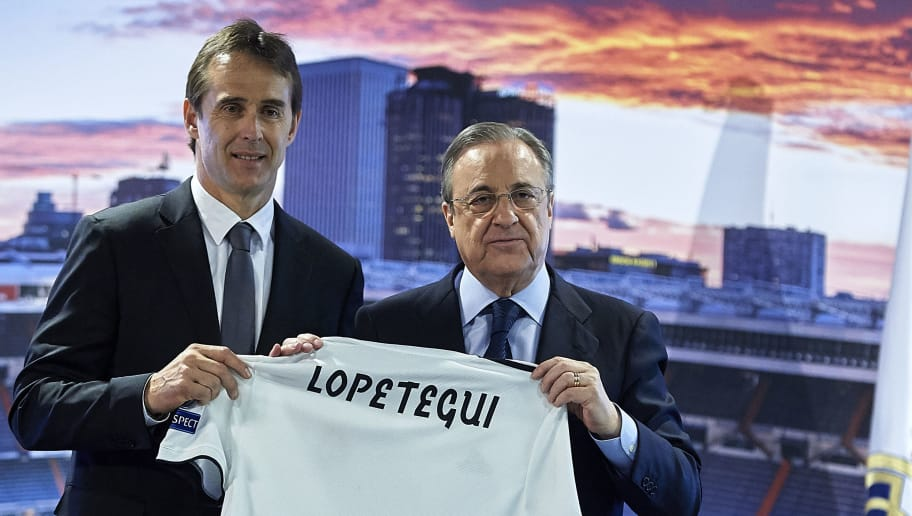 MADRID, SPAIN - JUNE 14:  Julen Lopetegui, the new head coach of Real Madrid (L) poses with Florentino Perez, President of Real Madrid at Santiago Bernabeu Stadium on June 14, 2018 in Madrid, Spain.  (Photo by Quality Sport Images/Getty Images)