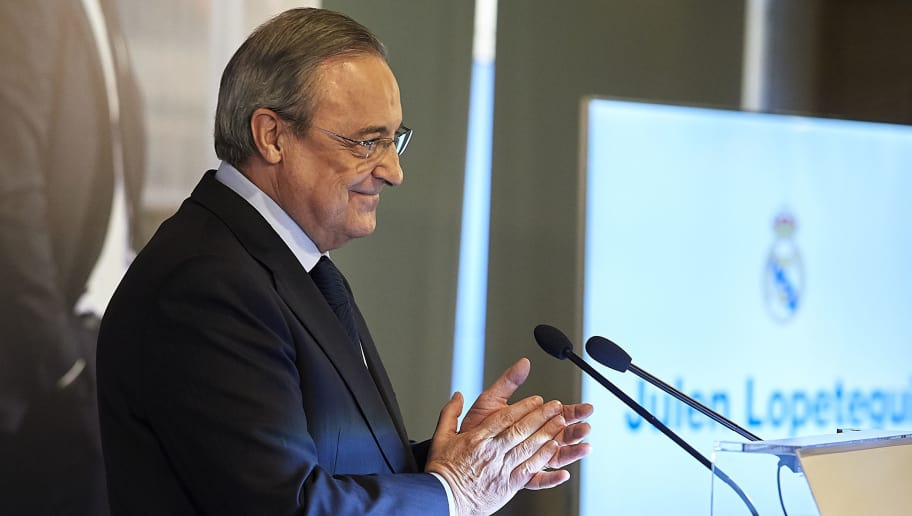 MADRID, SPAIN - JUNE 14:  Florentino Perez, President of Real Madrid reacts before announcing Julen Lopetegui as new coach at Santiago Bernabeu Stadium on June 14, 2018 in Madrid, Spain.  (Photo by Quality Sport Images/Getty Images)