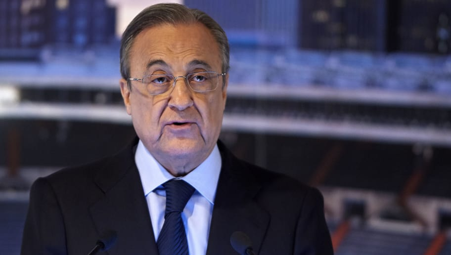 MADRID, SPAIN - JUNE 14:  Florentino Perez, President of Real Madrid speaks before announcing Julen Lopetegui as new coach at Santiago Bernabeu Stadium on June 14, 2018 in Madrid, Spain.  (Photo by Quality Sport Images/Getty Images)