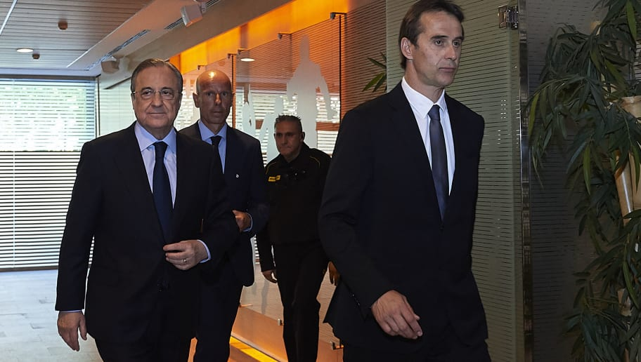 MADRID, SPAIN - JUNE 14:  Julen Lopetegui (R) walks into a press conference with Real Madrid president Florentino Perez (L) before he is announced as new Real Madrid head coach at Santiago Bernabeu Stadium on June 14, 2018 in Madrid, Spain.  (Photo by Quality Sport Images/Getty Images)