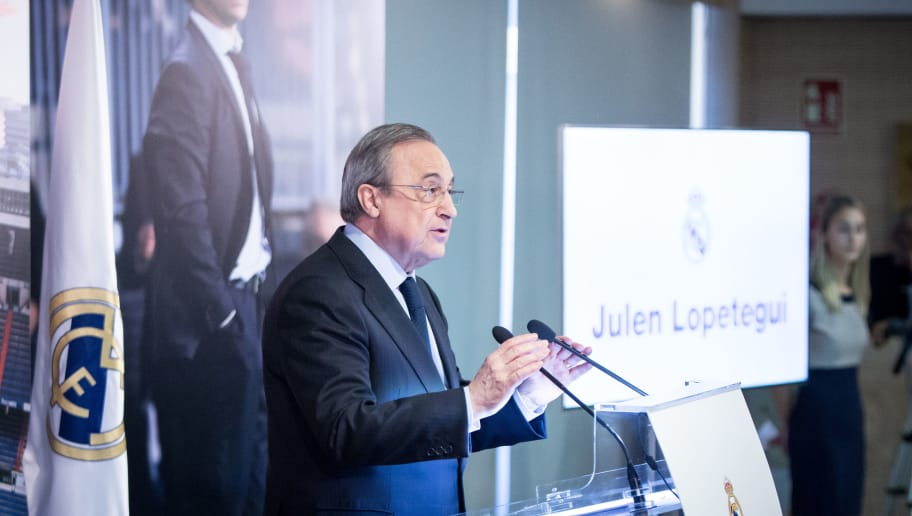 MADRID, SPAIN - JUNE 14:  President of Real Madrid Florentino Perez speaks during a press conference at Estadio Santiago Bernabeu on June 14, 2018 in Madrid, Spain. Julen Lopetegui was fired by Spain's soccer federation two days before Spain's World Cup opener against Portugal.  (Photo by Pablo Cuadra/Getty Images)