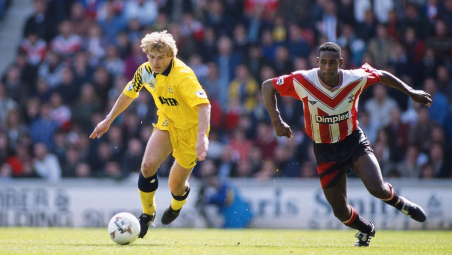 SOUTHAMPTON, UNITED KINGDOM - APRIL 02:  Spurs striker Jurgen Klinsmann (l) outpaces Ken Monkou during the FA Premiership match between Southampton and Tottenham Hotspur at the Dell on April 2, 1995 in Southampton, England.  (Photo by Mark Pain/Allsport/Getty Images)