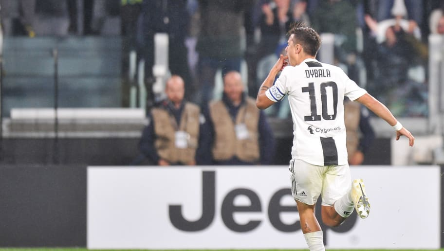 TURIN, ITALY - NOVEMBER 03: Paulo Dybala of Juventus celebrates scoring a goal during the Serie A match between Juventus and Cagliari on November 3, 2018 in Turin, Italy. (Photo by Norbert Barczyk/PressFocus/MB Media/Getty Images)