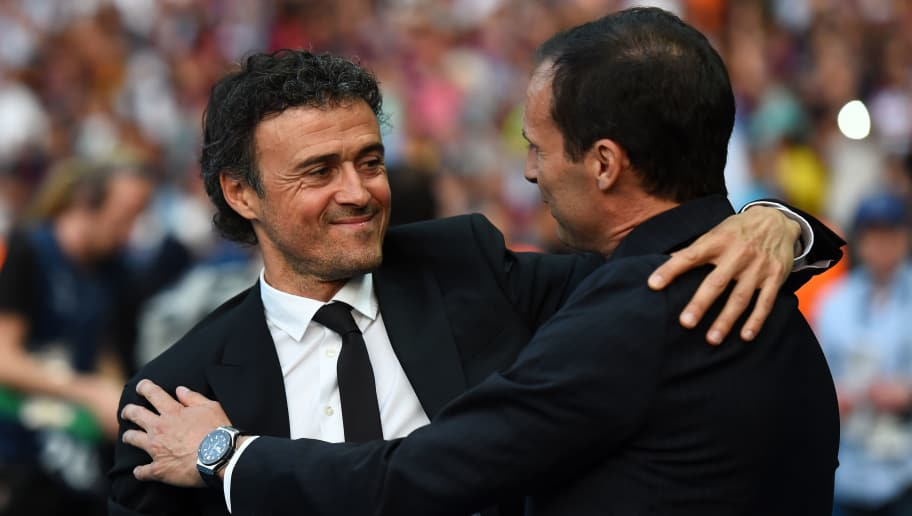 BERLIN, GERMANY - JUNE 06:  Luis Enrique manager of Barcelona greets Massimiliano Allegri manager of Juventus during the UEFA Champions League Final between Juventus and FC Barcelona at Olympiastadion on June 6, 2015 in Berlin, Germany.  (Photo by Laurence Griffiths/Getty Images)